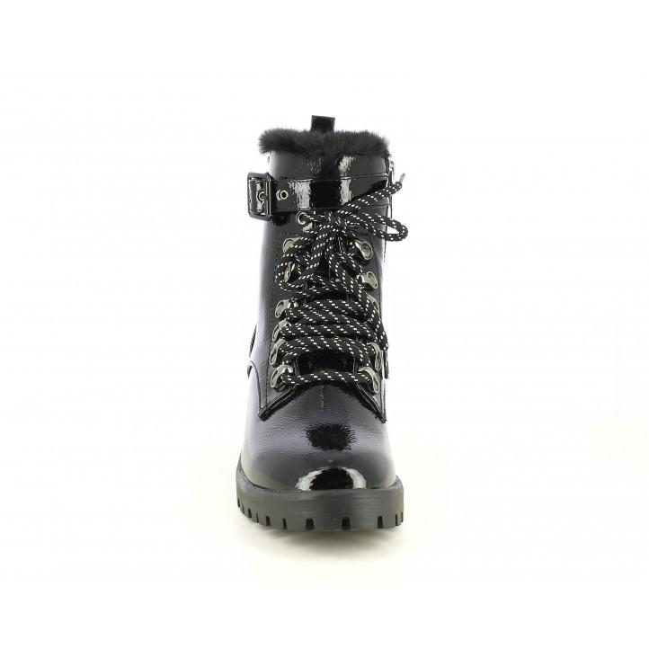 Botins de taló Pepe Jeans negres de xarol amb cordons i cremallera part interior - Querol online