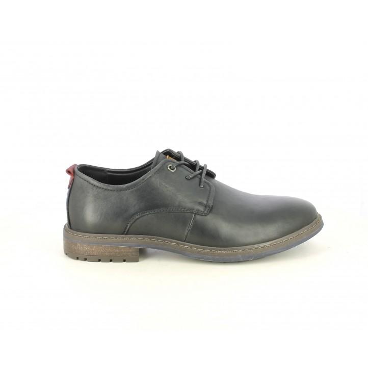 Zapatos vestir Vicmart negros con cordones y detalle en contrafuerte - Querol online