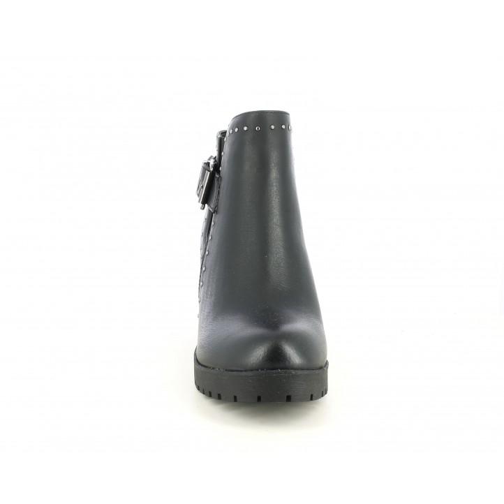Zapatos tacón Refresh negros con hebilla, cremallera i elástico - Querol online