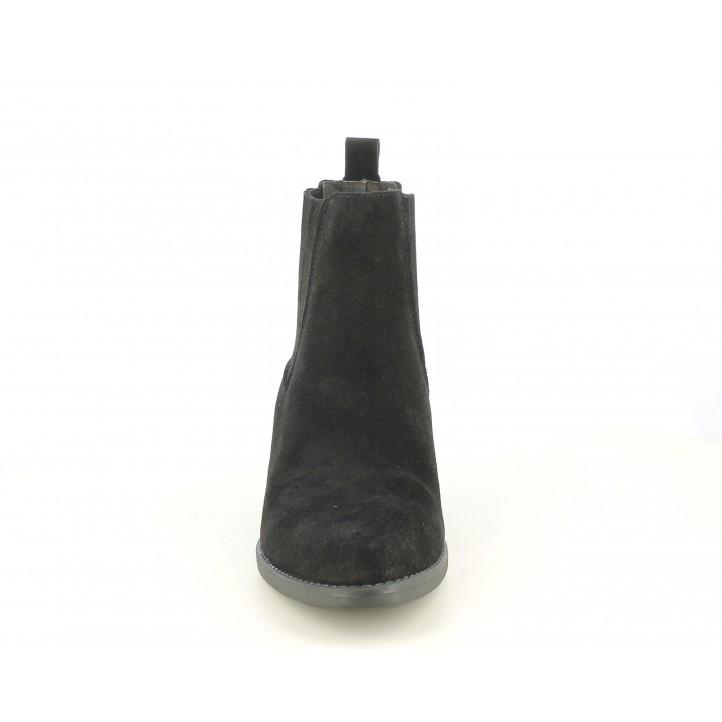 Botines tacón Redlove negrro de serraje con elástico en tobillo - Querol online