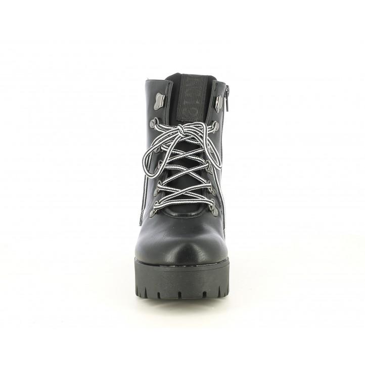Botins de taló Owel negres amb cordons en color blanc i negre - Querol online