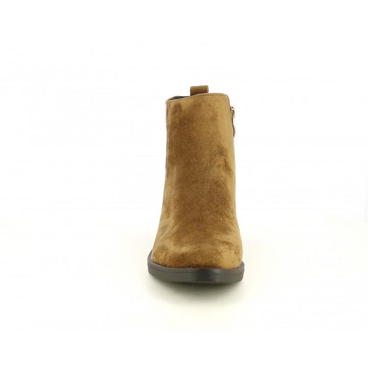 Botines tacón D'Angela marrón de antelina con cremallera y elásticos - Querol online