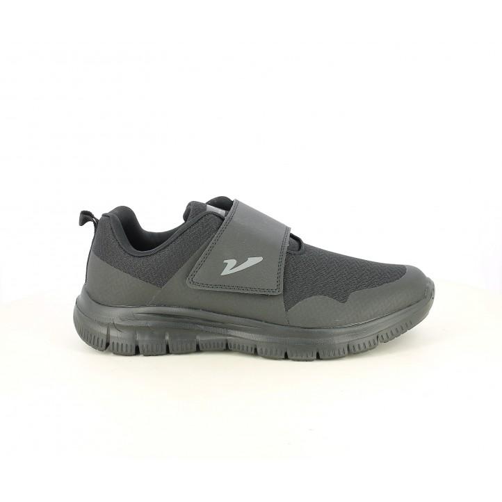 Zapatillas deportivas Vicmart negro con velcro, plantilla acolchada y extraíble - Querol online