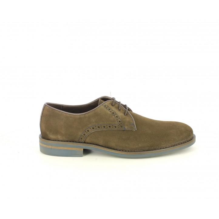 Zapatos vestir Be Cool marrones de serraje con cordones - Querol online