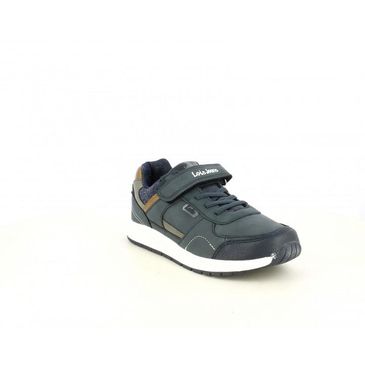 Zapatillas deporte Lois azul marino con cordones y velcro - Querol online