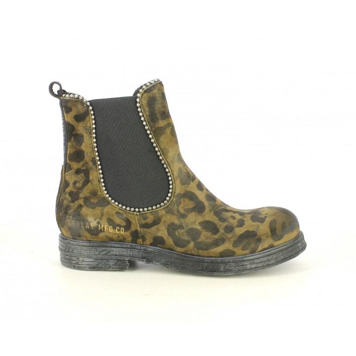 Botines tacón Replay de piel marrones estampado leopardo, elásticos y tachuelas - Querol online