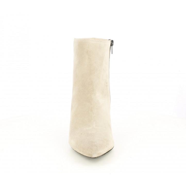 Botines tacón Angel Alarcón taupe de piel con cremallera lateral acabados en punta - Querol online