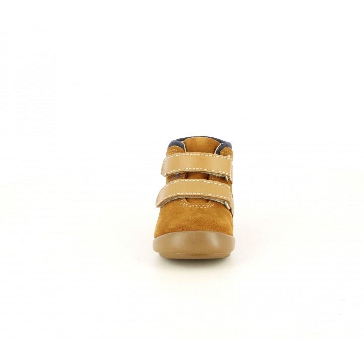 Botines Kickers marrones de piel con doble velcro y detalle azul - Querol online