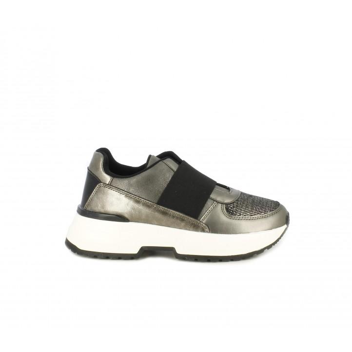 Zapatillas deportivas Funhouse grises metalizadas con plataforma - Querol online