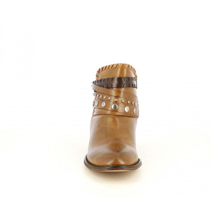 Botins de taló POP CORN marrons amb tires al turmell i cremallera lateral - Querol online