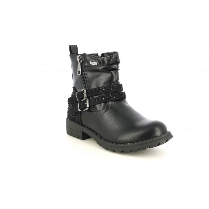 Botas MustangKids negras con brillantes, tiras y hebillas - Querol online