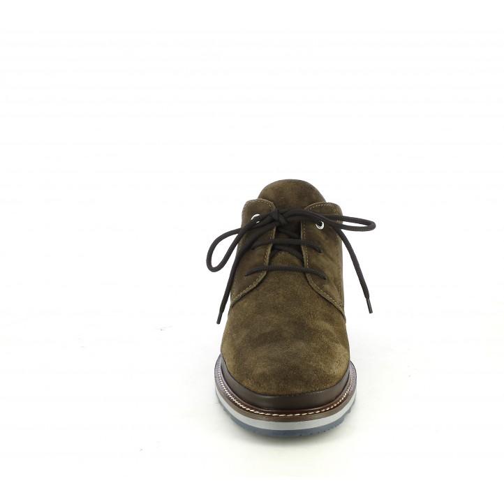 Botines Zen de piel marrones con cordones - Querol online