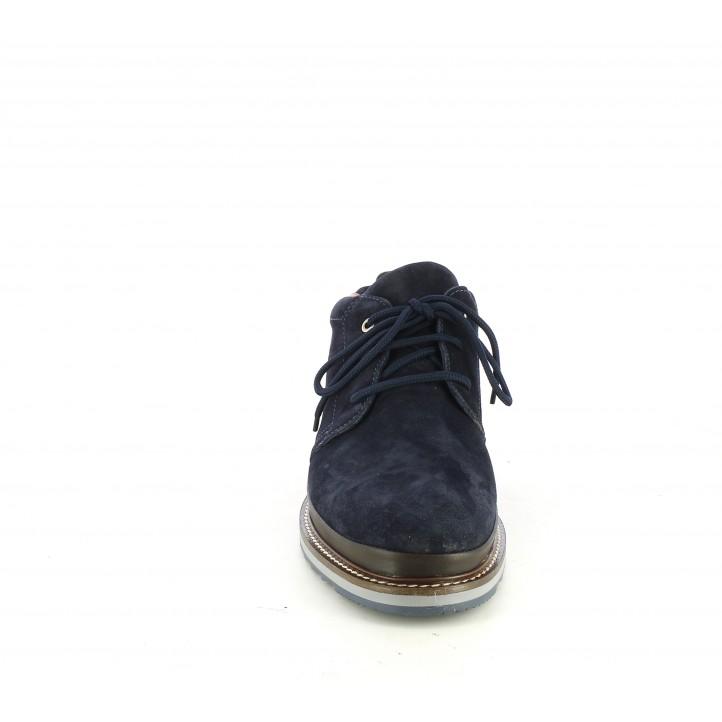 Botines Zen de piel azul oscuro con cordones - Querol online