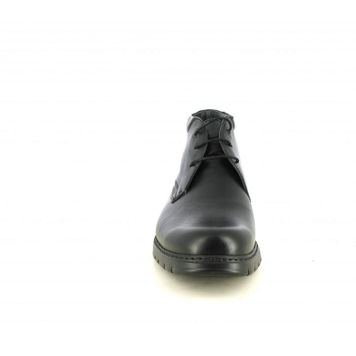 Botines Fluchos negros de piel con cordones - Querol online