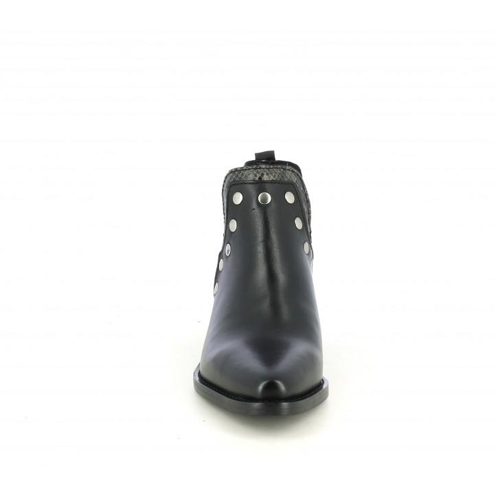 Botines tacón Redlove negros de piel con tachuelas - Querol online