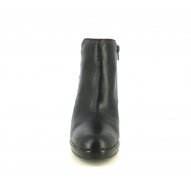 Botins de taló Suite009 negres de pell mb cremallera lateral i detalls elàstics - Querol online