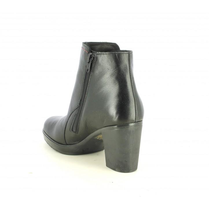 Botines tacón Suite009 negros de piel con cremallera lateral y detalles elásticos - Querol online