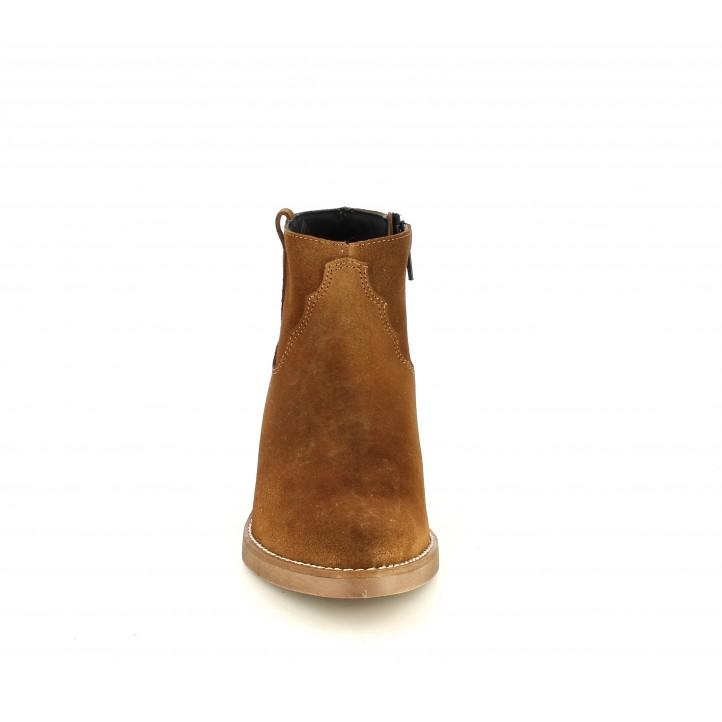 Botins de taló Redlove marrons de pell amb cremallera lateral estil cowboy - Querol online