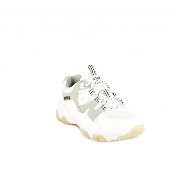 Zapatillas deportivas Mustang blancas con detalles en gris - Querol online
