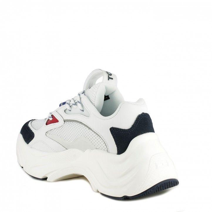 Sabatilles esportives Tommy Hilfiger blanques fashion chunky amb cordons i cambinat amb diferents teixits - Querol online