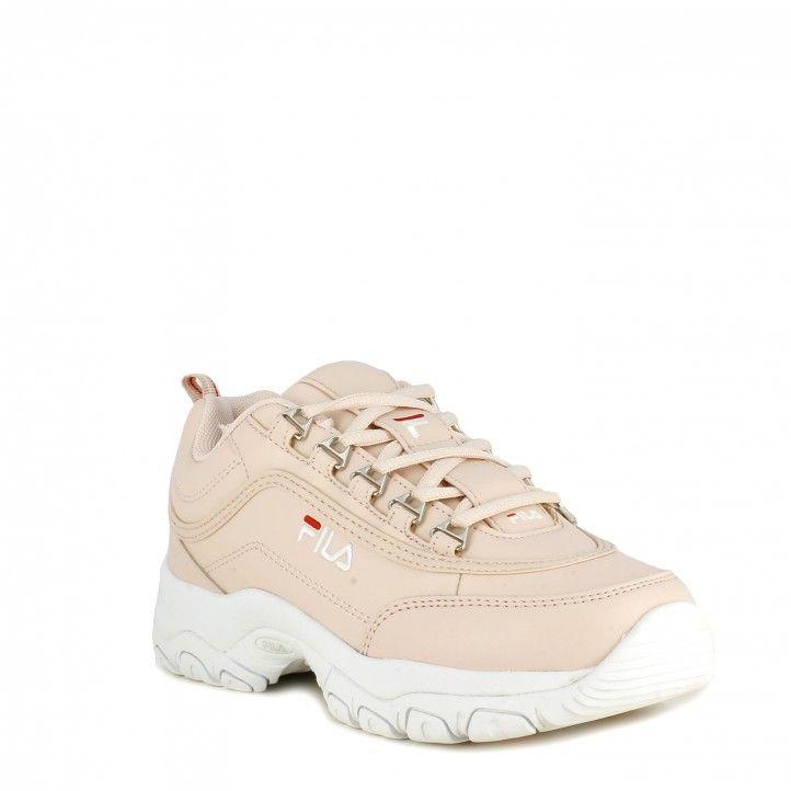 Zapatillas deportivas Fila rosa strada low con cordones - Querol online