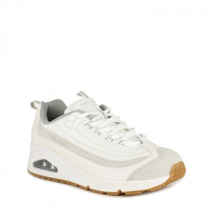 Zapatillas deportivas Skechers blancas con cordones modelo street uno plantillas memory foam - Querol online
