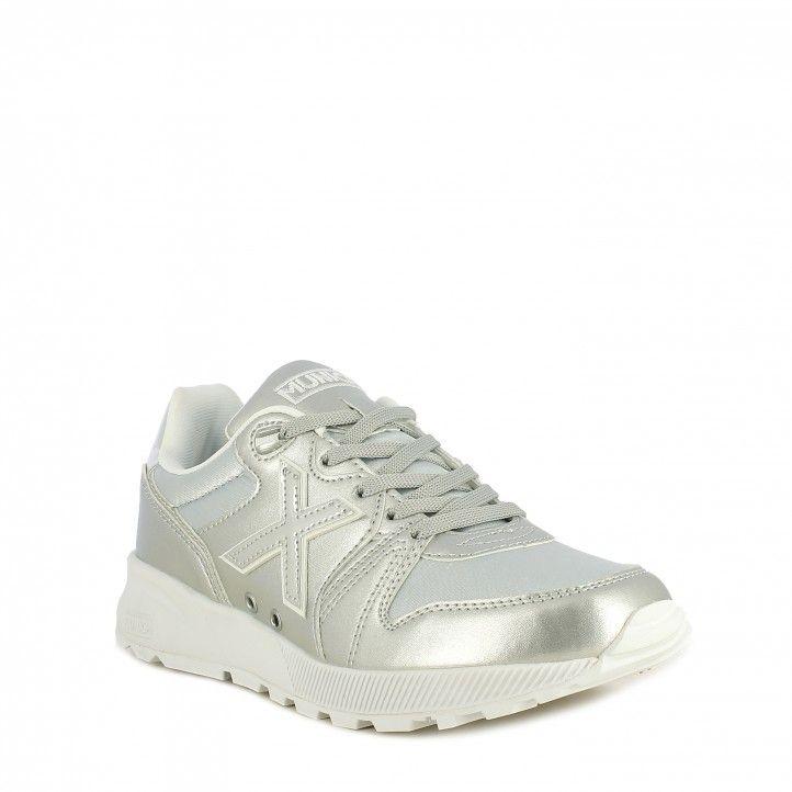 Zapatillas deportivas MUNICH plateadas con cordones suela de goma de alta densidad - Querol online