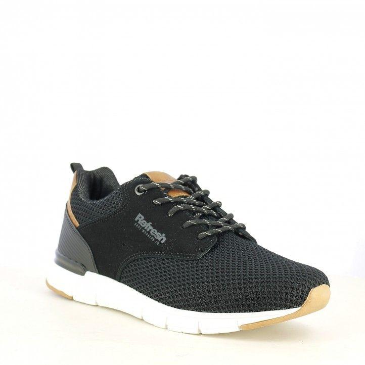 Zapatillas deportivas Refresh negra de cordones muy ligera - Querol online
