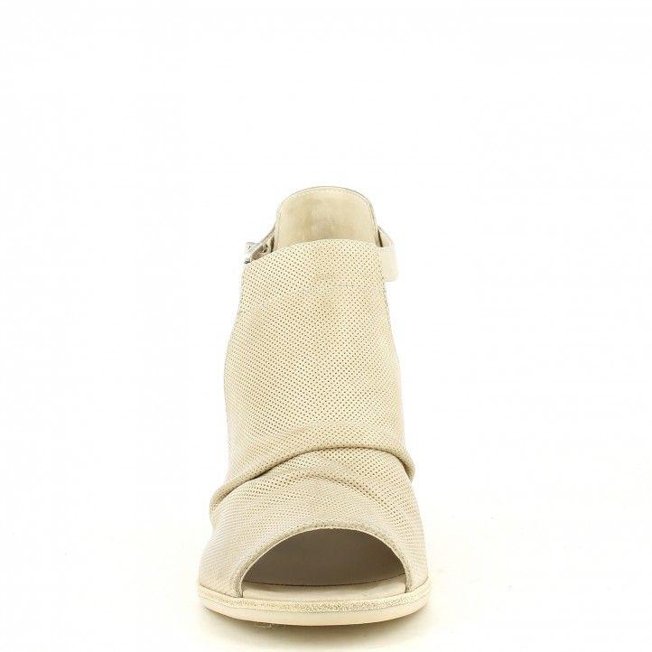 Sandalias tacón Nero Giardini champagne con piel estampada hebilla lateral y cremallera trasera - Querol online