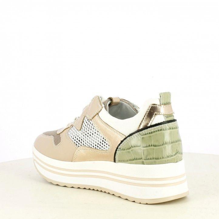 Zapatillas deportivas Nero Giardini rosa combinada en varios materiales plantilla extraíble - Querol online