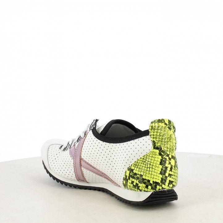 Zapatillas deportivas MUNICH blancas osaka con detalles en animal print - Querol online