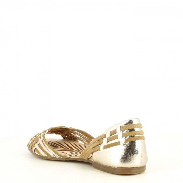 Sandalias planas Pepe Jeans trenzada combinada en marrón y metal - Querol online