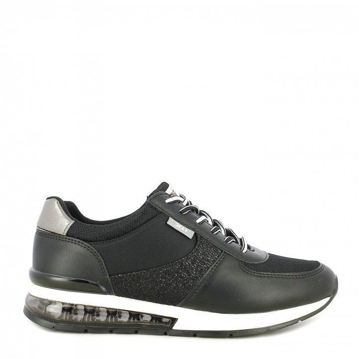 Zapatillas deportivas Xti negras con cordones camara de aire - Querol online