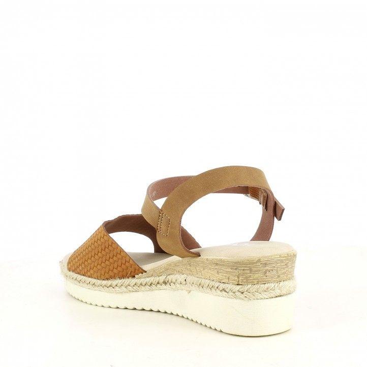 Sandalias cuña You Too marrón con media suela de esparto cierre con hebilla - Querol online