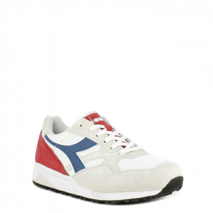 Zapatillas deportivas Diadora blancas con detalles en azul y rojo n902 s - Querol online