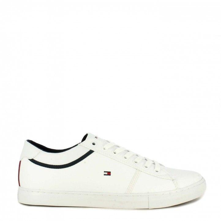 Zapatillas deportivas Tommy Hilfiger blancas con detalles en negro y cordones - Querol online