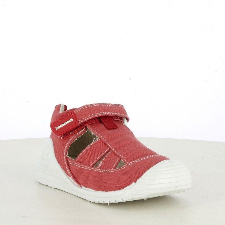 Sandalias abotinadas Biomecanics rojas de algodón plantilla de piel extraíble - Querol online