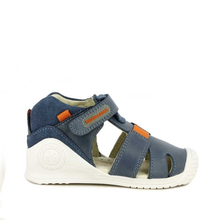Sandalias abotinadas Biomecanics azul cierre con velcro plantilla de piel máxima estabilidad - Querol online