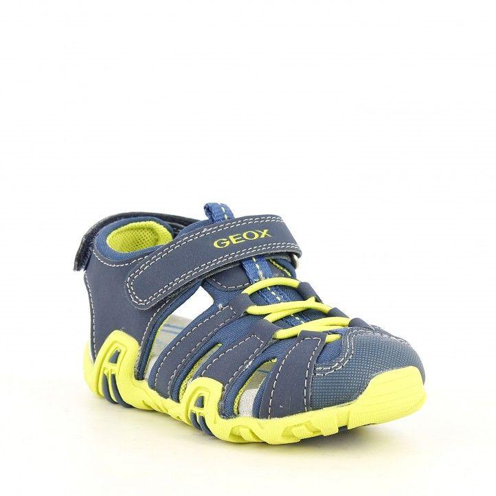 sandàlies Geox blau i groc lima amb velcro i elàstics capdavantera reforçada - Querol online