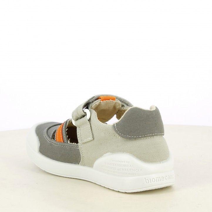 sandalias Biomecanics gris con detalles en naranja cierre de velcro plantilla extraíble - Querol online