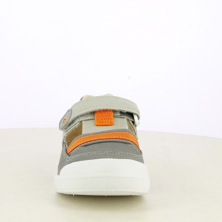 sandàlies Biomecanics gris amb detalls en taronja tancament de velcro plantilla extraïble - Querol online