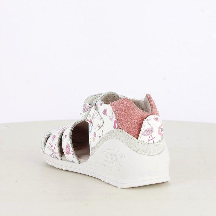 Sandalias abotinadas Biomecanics blancas con estampado en tonos rosas plantilla de piel ant-ibacterias - Querol online