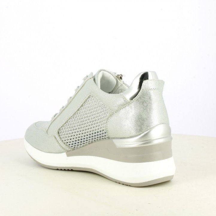 Zapatillas deportivas Owel plateadas con cordones y detalles brillantes - Querol online