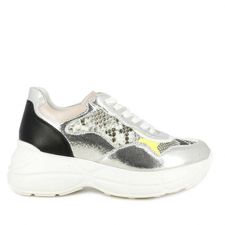 Zapatillas deportivas Owel plateadas mezcla de texturas y estampado serpiente - Querol online