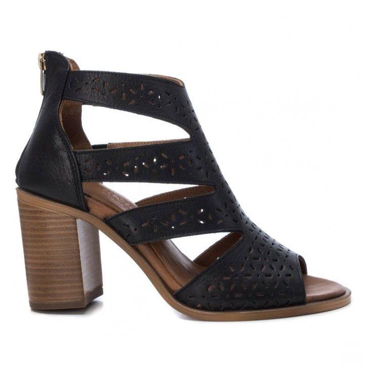 Zapatos tacón Carmela negros piel calada con cremallera trasera - Querol online