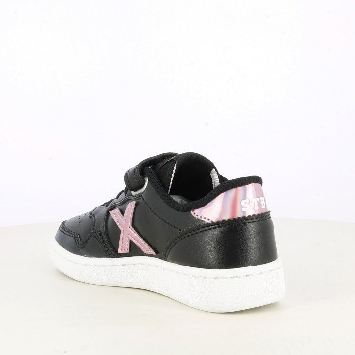 Zapatillas deporte Munich negras con rosa metalizado arrow kid - Querol online