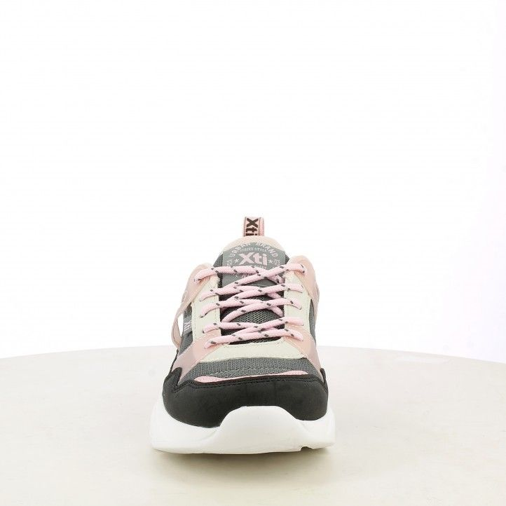 Zapatillas deporte XTI KIDS negras rosas y grises con cordones 57161 - Querol online