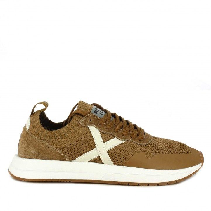 Zapatillas deportivas Munich marrón de malla elástica combinada con serraje suela blanca - Querol online