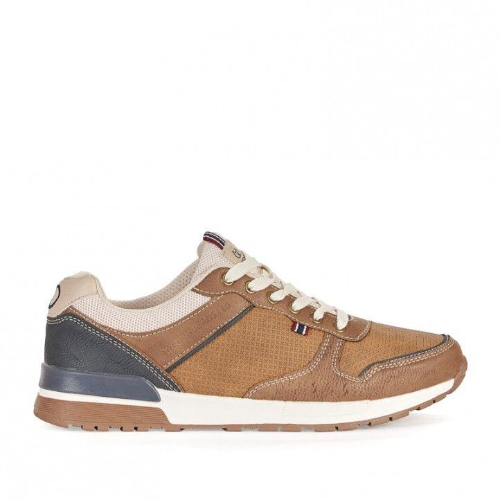 Zapatos sport Sweden Klë marrón combinada con azul y crema - Querol online