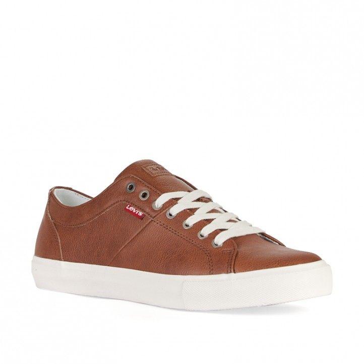 Zapatos sport Levi's marrón con cordones blancos - Querol online